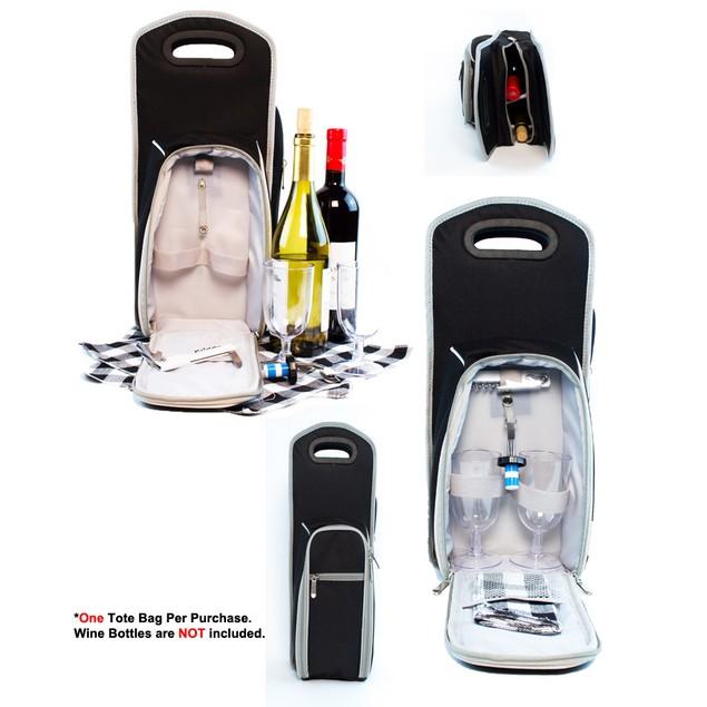 7 Pcs Wine Carrier Tote Bag - Insulated Wine Bottle Holder Picnic Set Black