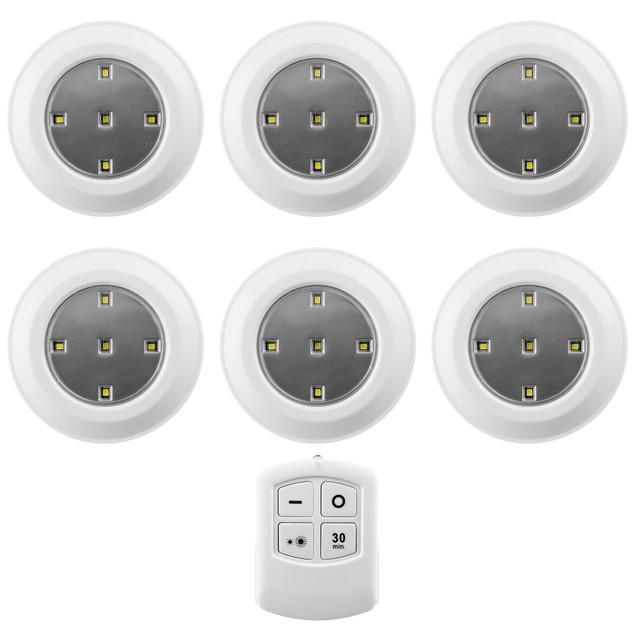 6-Pack Liger LED Wireless Puck Lights With Remote Control