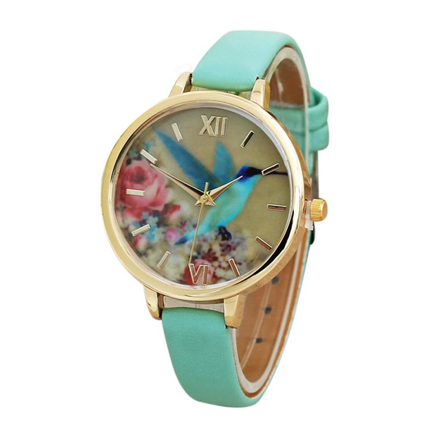 Blue Hummingbird Women Leather Band Analog Quartz Movement Wrist Watch