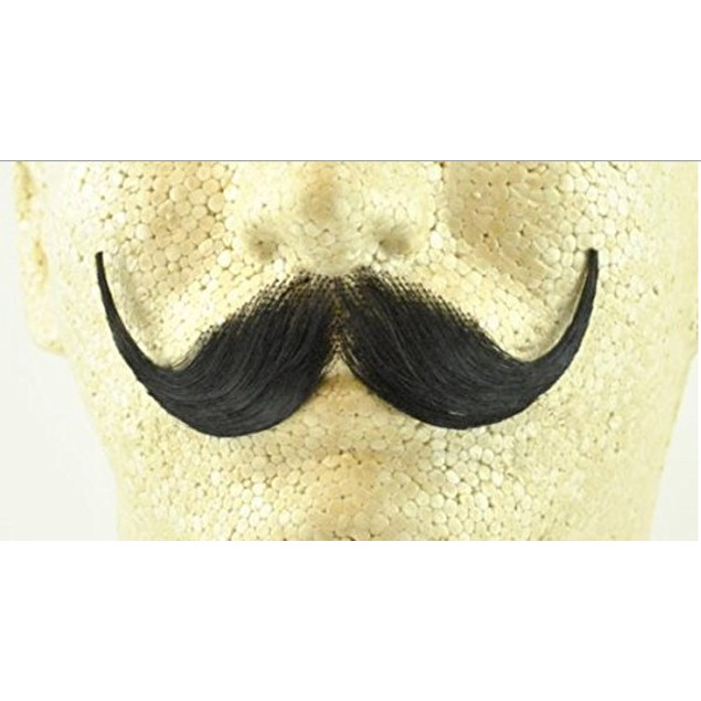 Black Handlebar Moustache 100% Human Hair Handle Bar Costume Accessory