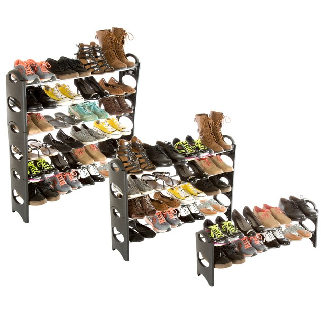 Everyday Home 6 Tier Stackable Shoe Rack 24 Pair Capacity - Black