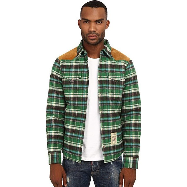 DSQUARED2 Men's Western Shirt Brown/Green 50 (US 40)