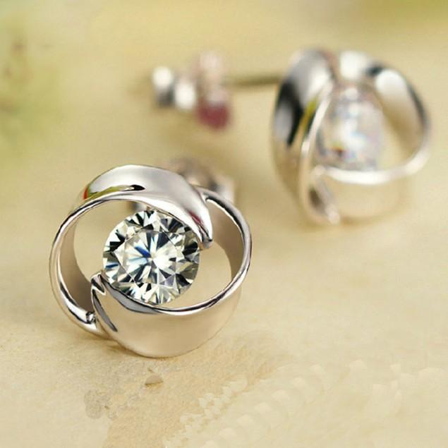 1Pair Beautiful Silvering Crystal Shiny Ear Stud Earrings Women Fashion