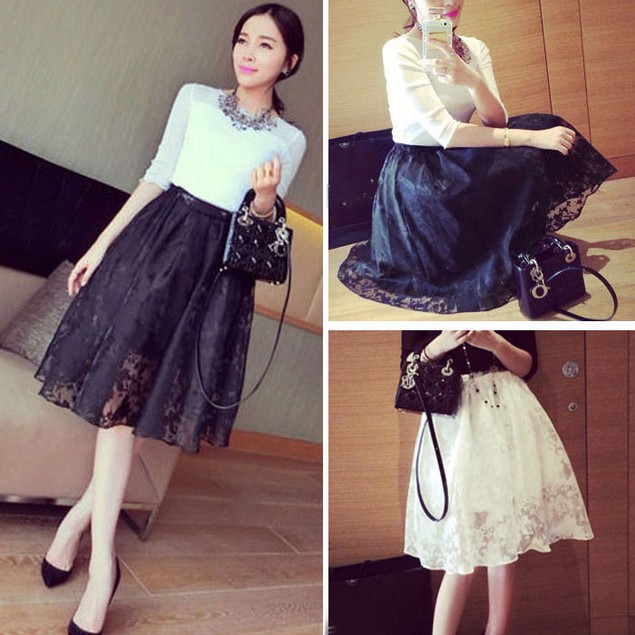 Womens Double Layer Pleated Plaid Long Elastic Waist Skirt