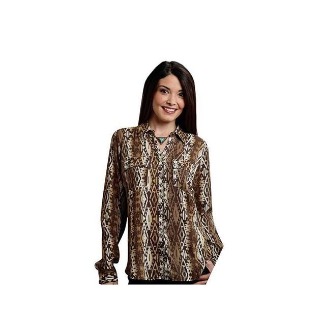 Roper Women's 9907 Aztec Printed Rayon Blouse Brown Blouse SM