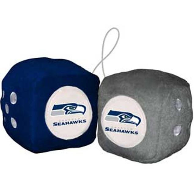 Seattle Seahawks Fuzzy Dice NFL Football Team Logo Plush Car Truck Auto
