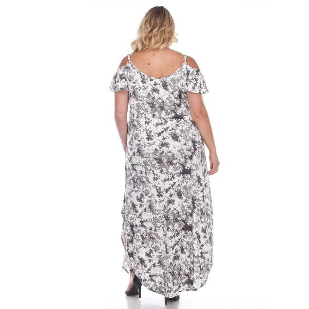 Cold Shoulder Tie-Dye Maxi Dress - 3 Colors - Extended Sizes