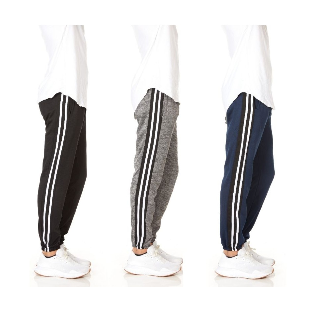Men's Striped Sweatpants Fleece Joggers