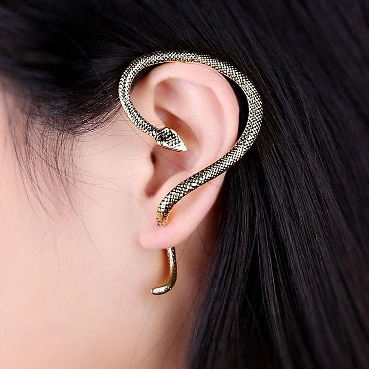 227f69691bad9 Gothic Punk Snake Wind Temptation Silver Ear Stud Cuff Earrings - Tanga