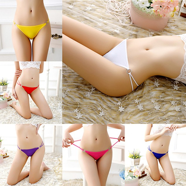 Women Sexy Iron Ring Hollow Bowknot G-String T-Back