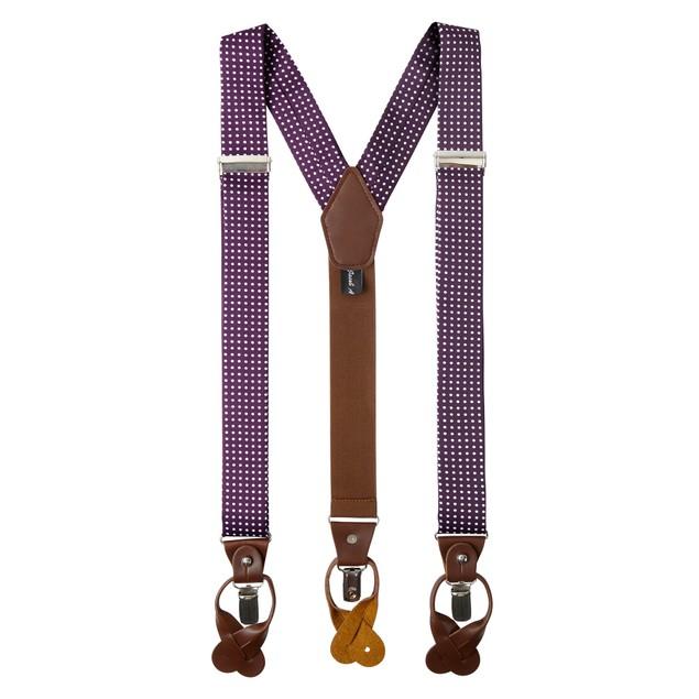Jacob Alexander Men's Polka Dot Suspenders Convertible Leather Ends Clips