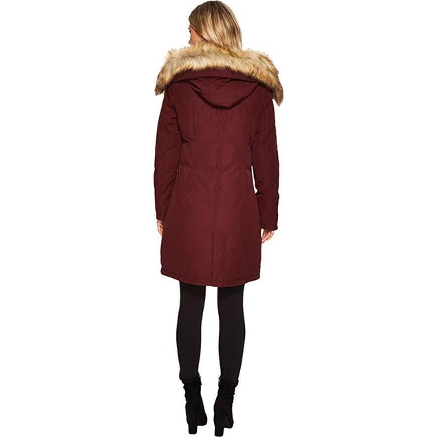 Vince Camuto Womens Faux Fur and Sherpa Hooded Down N1661 Burgundy SZ