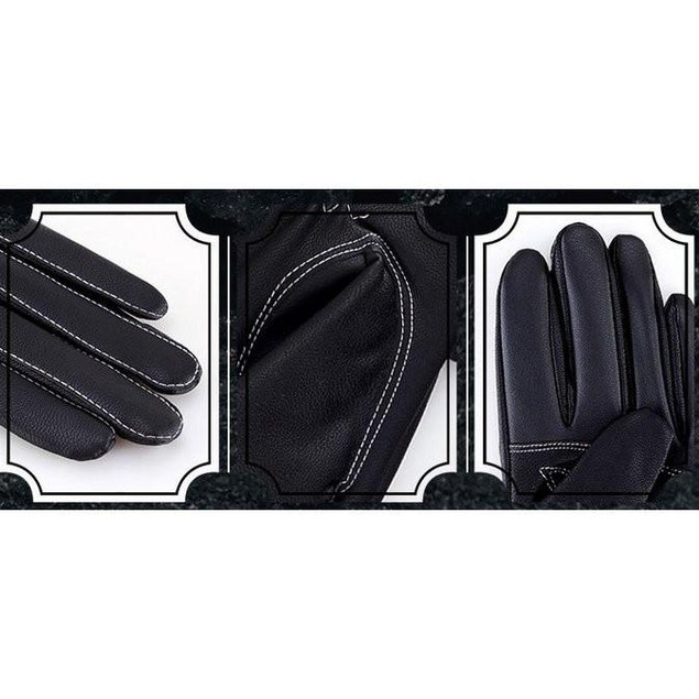 iPM Men's Faux Leather Fleece Touchscreen Gloves With White Stitching