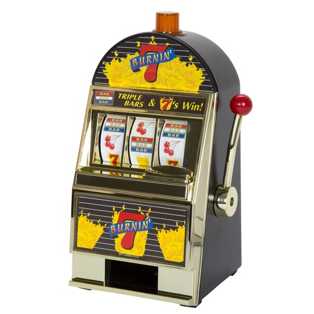 Burning 7's Slot Machine Bank with Spinning Reels