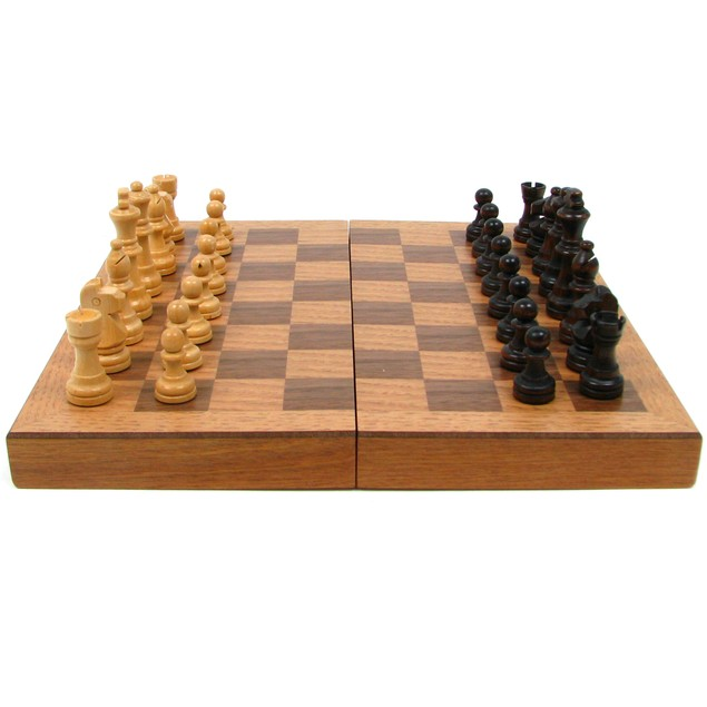 Wooden Book Style Chess Board  with Staunton Chessmen