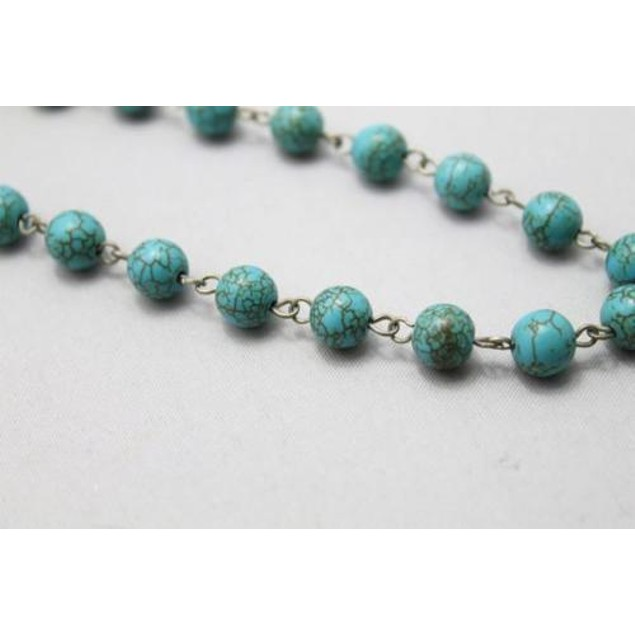 Turquoise Long beaded necklace with pendant
