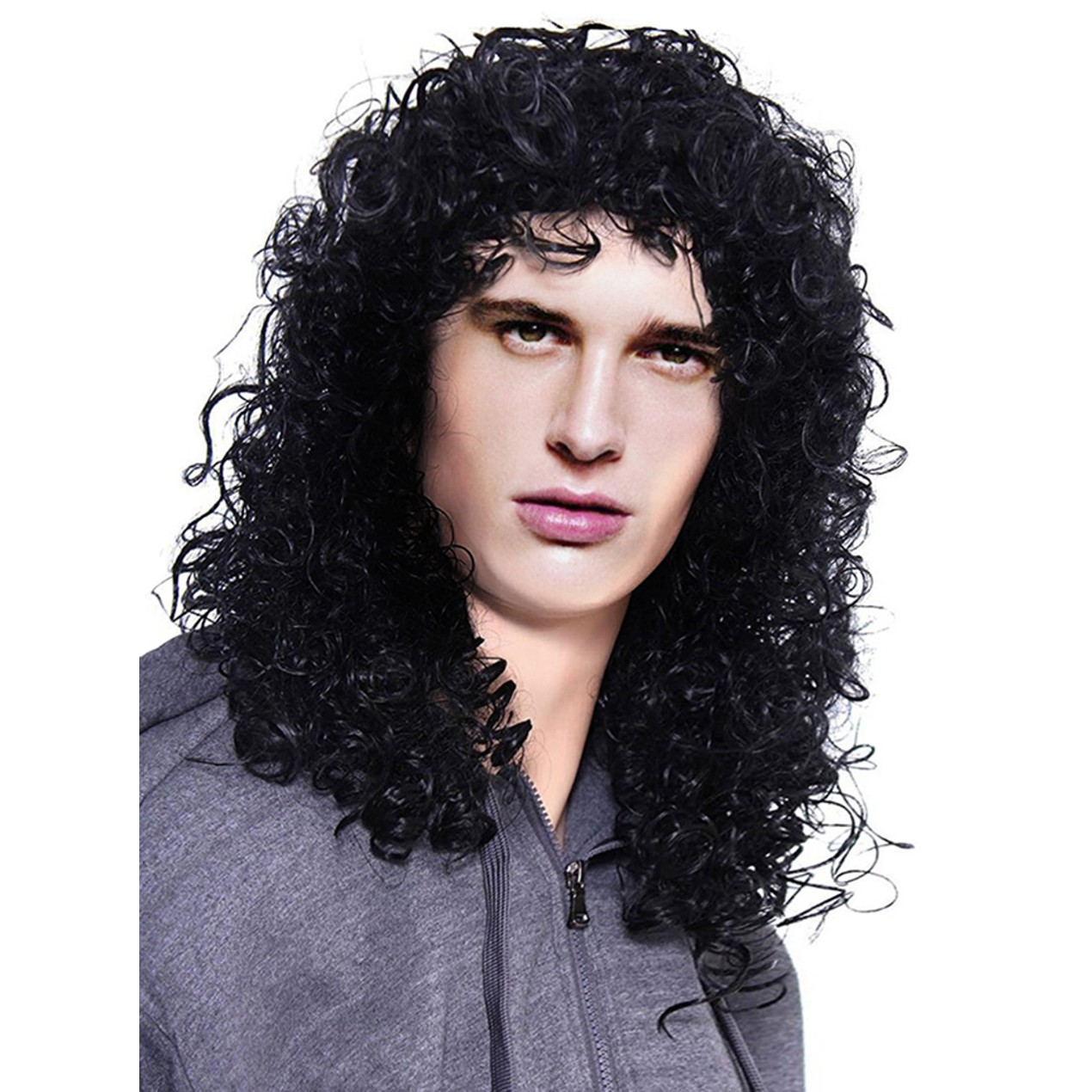 347993d1376 Men s Costume Hair Accessory Heavy Metal Rocker Long Curly Black Wig ...