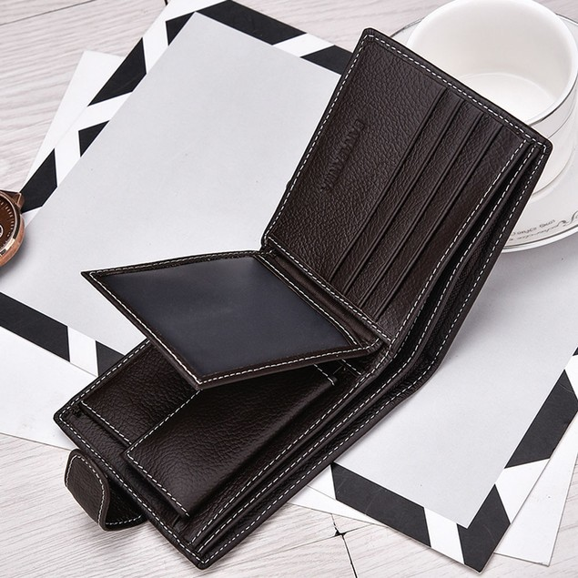 Men Short Bifold Business Leather Wallet Money Card Holder Bag Purse