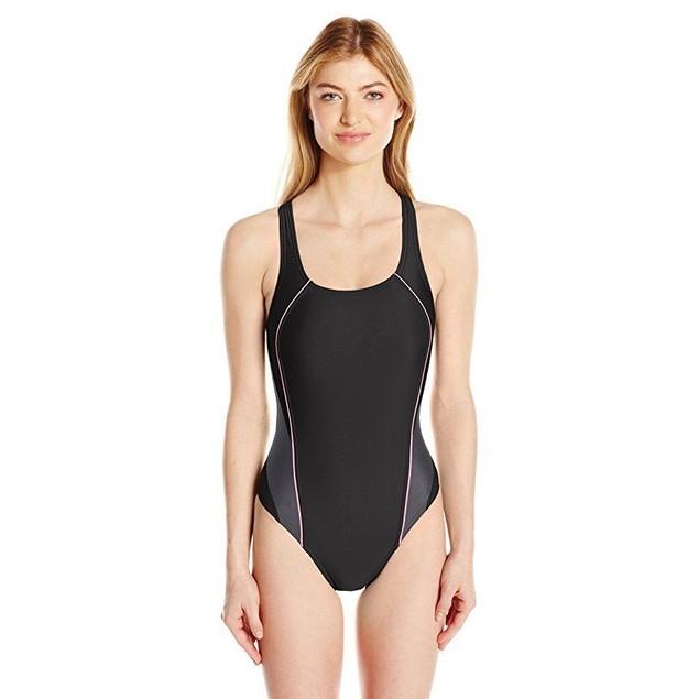 Speedo Women's Pro Lt Drop Back One Piece Swimsuit, Black/Pink, Size 2
