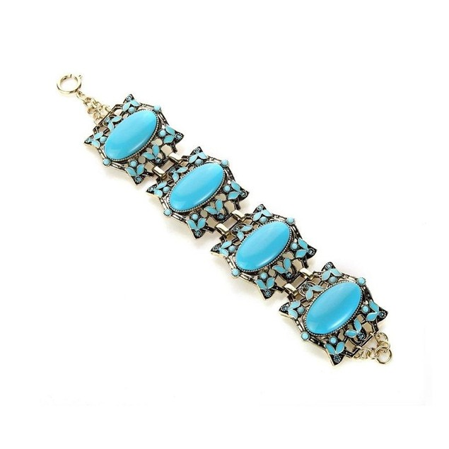 Novadab Vintage Blue Acrylic Charm Party Bracelet