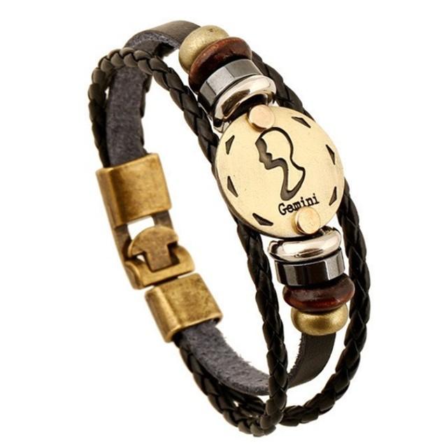 Florence Scovel- Zodiac Signs Black Gallstone Leather Bracelet