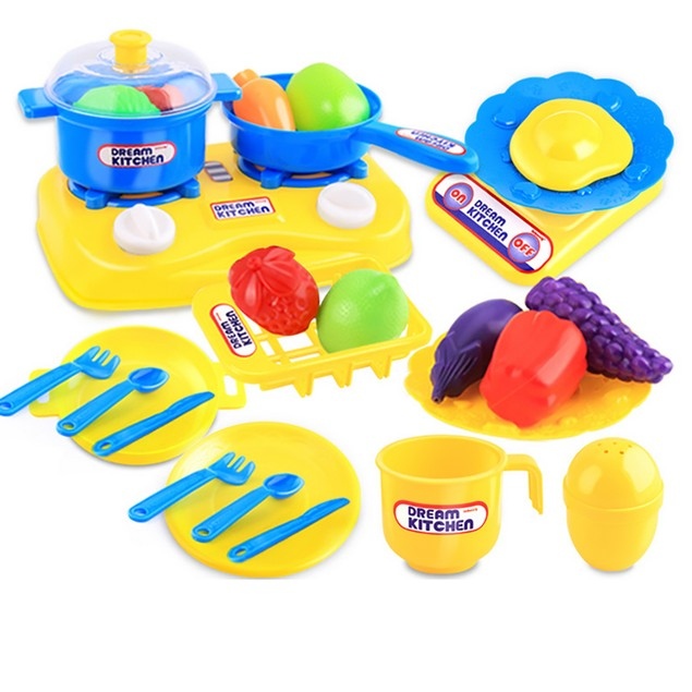 26pcs Plastic Kids Kitchen Utensils Food Cooking Toy