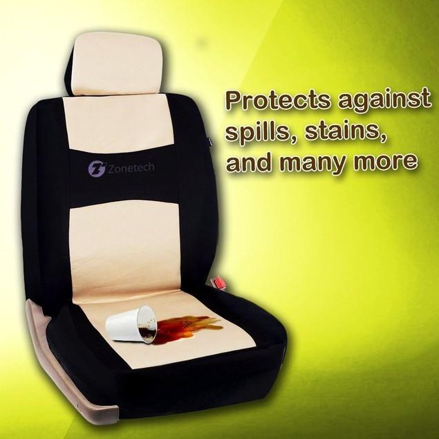 Zone Tech Flat Cloth Universal Car Seat Covers Black/Beige Full Set