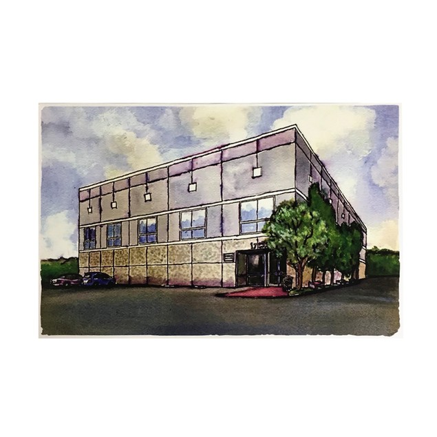 Pam Beesly Office Building Watercolor Painting Poster 11 x 17