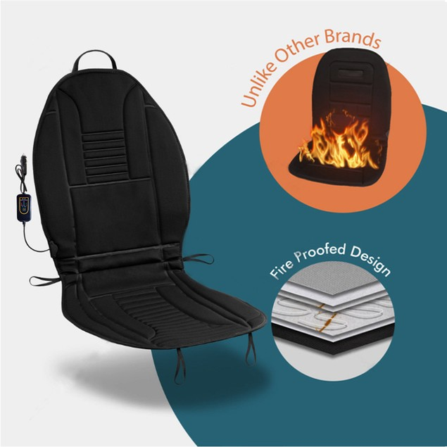 Zone Tech Heated Car Seat Chair Cushion Warmer Pad Cover 45 Minute Timer