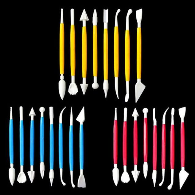 8-Piece Fondant Cake Decorating Tools - Assorted Colors
