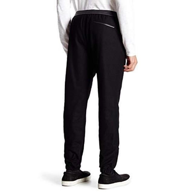 Vince Men's Leather Trim Jogger Pants Cobalt Blue (Navy) Size Large