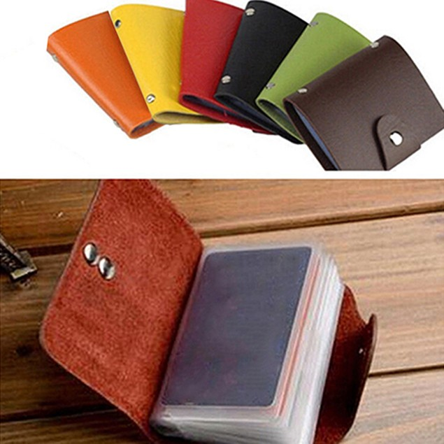 Men Women 24 Card ID Credit Card Holder Faux Leather Case