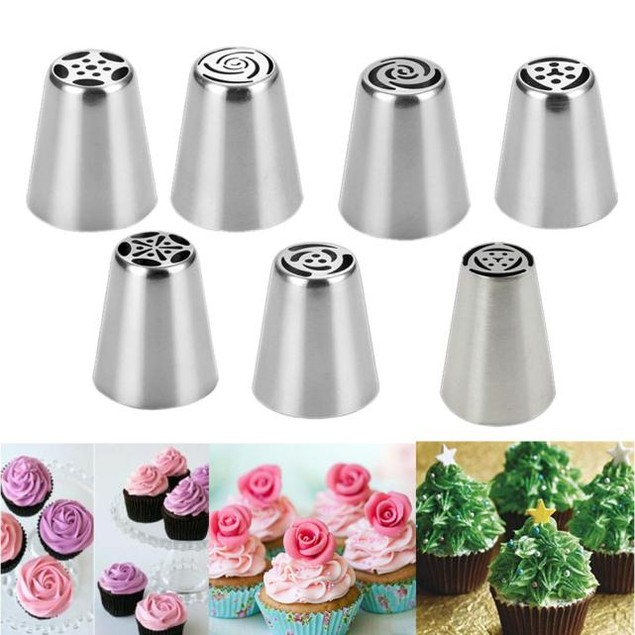 7-Piece Stainless Steel Cake Decorating Icing Tips