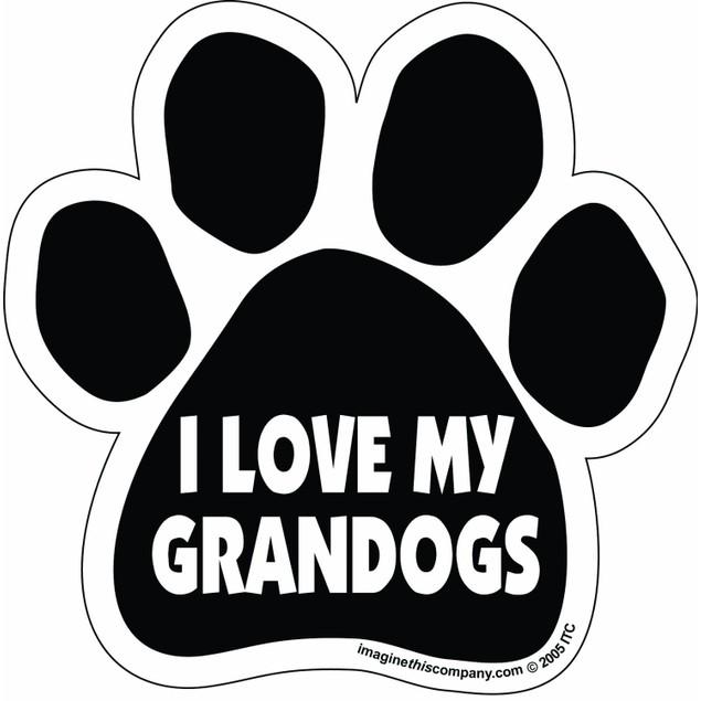 I Love My Granddogs Paw Magnet