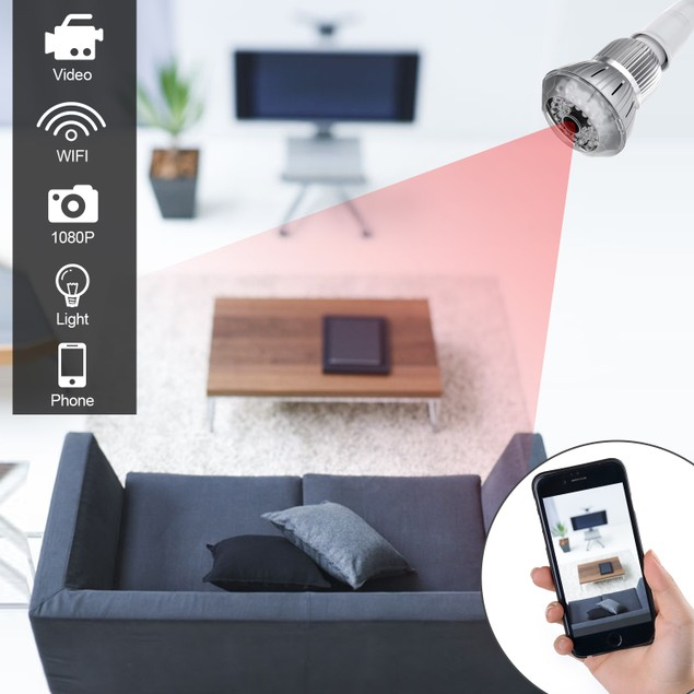 Full HD 1080P  Hidden spy Camera WIFI IP Light Bulb Camera CCTV Camera