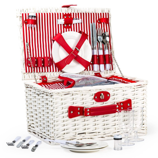 Heavy-Duty, Stylish Willow Picnic Basket (4-person Red and White Stripe)