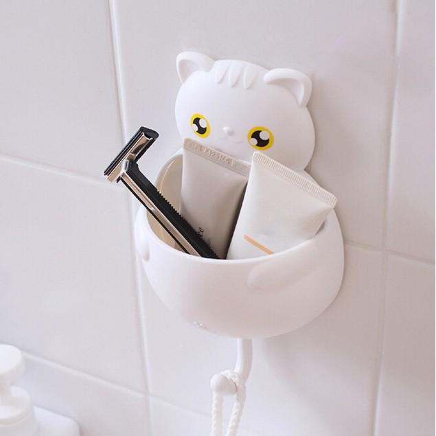 Cute Cartoon Sucker Hook Toothbrush Holder Cute Cats Bathroom Tool