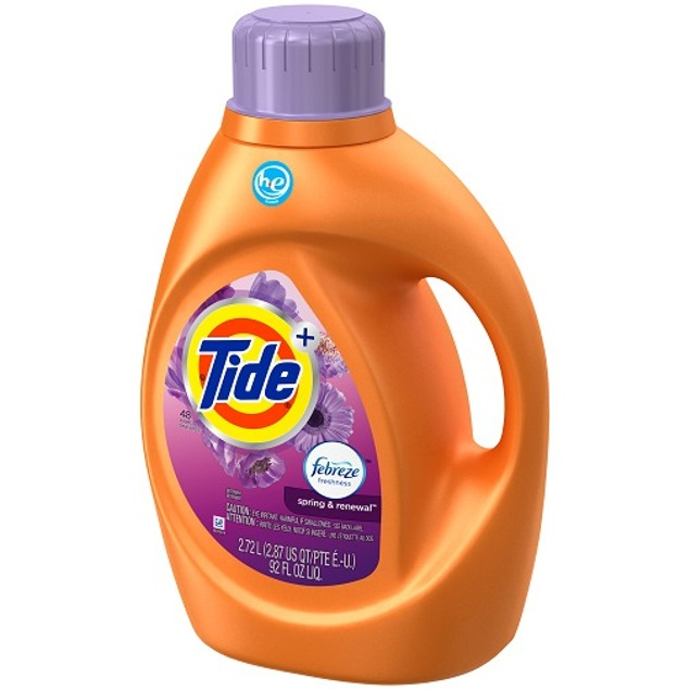 Tide Plus Febreze Spring & Renewal HE Liquid Laundry Detergent 92 oz
