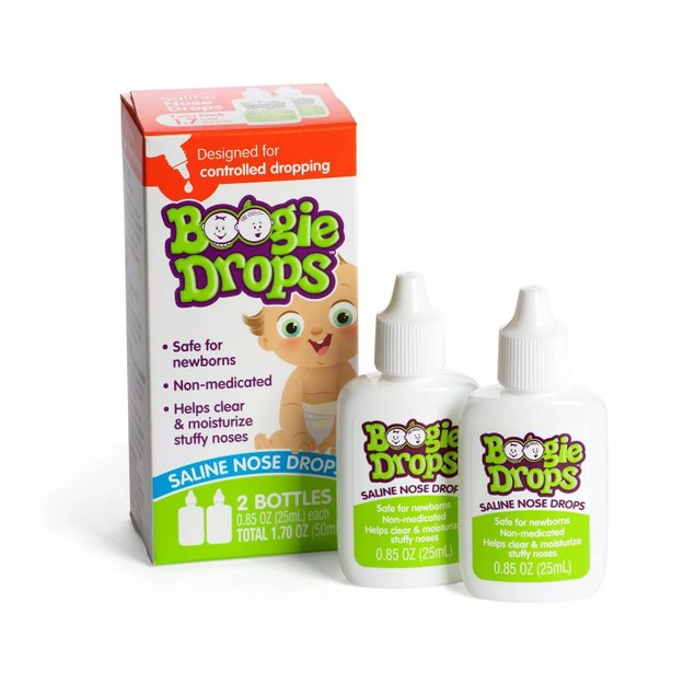 Boogie Drops Saline Nose Drops, Clear Newborn's Stuffy Nose, Twin Pack 1.7