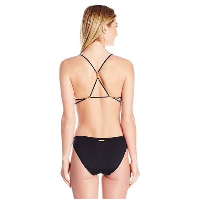 Vince Camuto Women's Hardware Plunge Strappy Back One Piece Swimsuit S