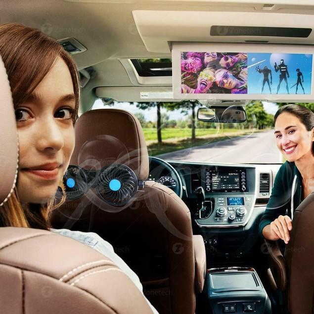 Zone Tech 12V Dual Head Car Cooling Oscillating Back Seat Ventilation Fan