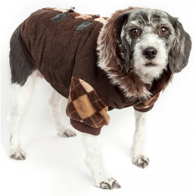 Designer Patterned Suede Argyle Sweater Pet Jacket w/ Removable Hood