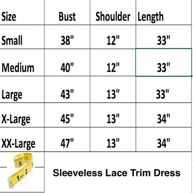 Sleeveless Lace Trim Dress