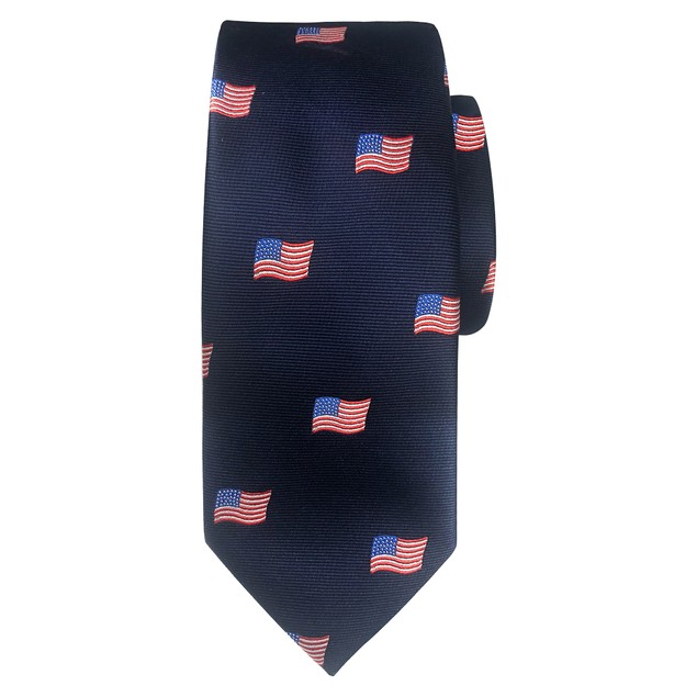 Jacob Alexander Men's Woven American Flags USA Navy Neck Tie - Slim
