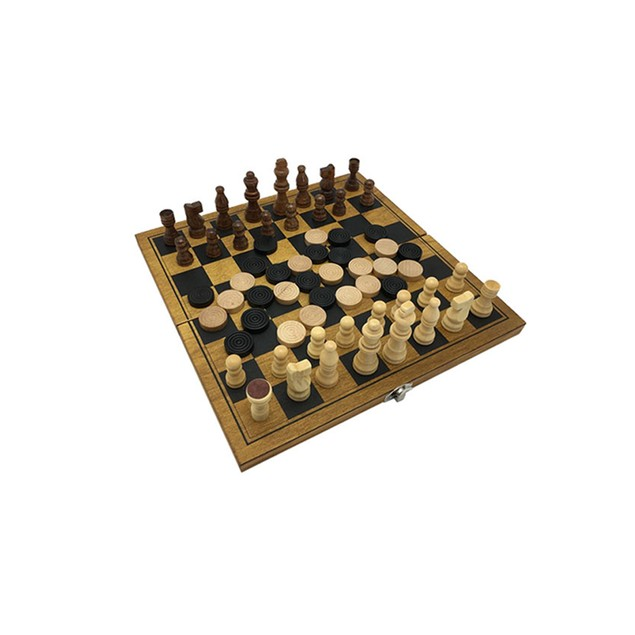Zummy Natural Wooden 2 in 1 Chess and Checkers Game Puzzle - Mini Size