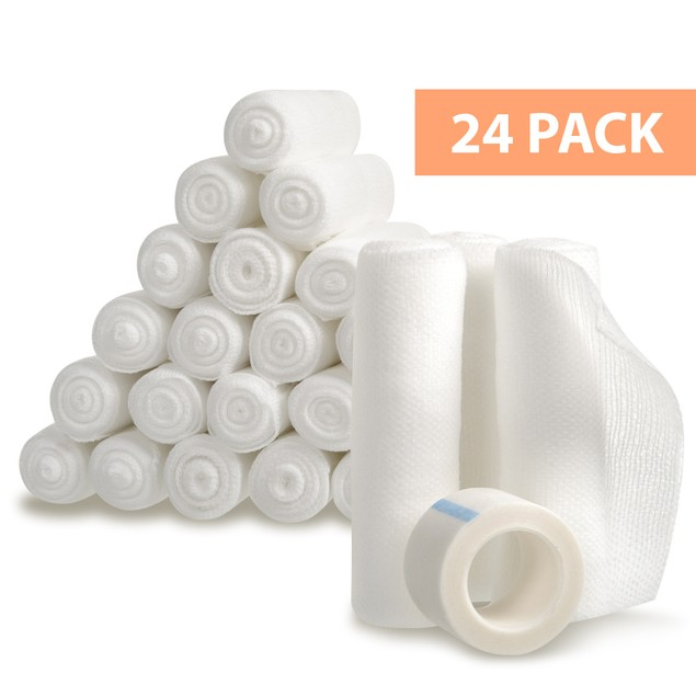 California Basics 24-Pack Gauze Bandage Rolls with Medical Tape