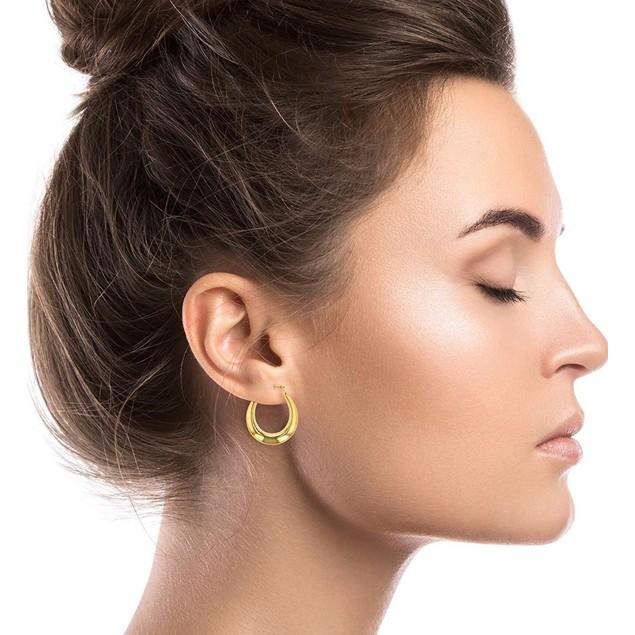 18K Gold Graduated French Lock Hoop Earrings - 3 Colors