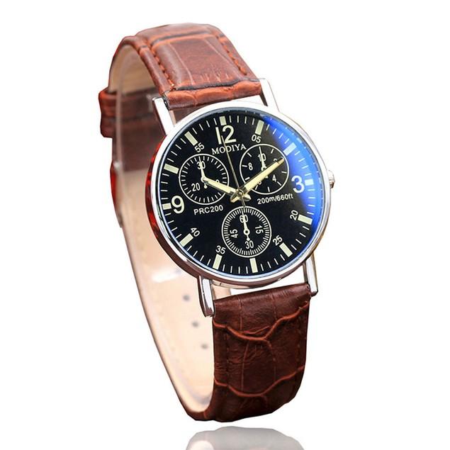 Six Pin  Watches Quartz Men's Watch Blue Glass Belt Watch Men