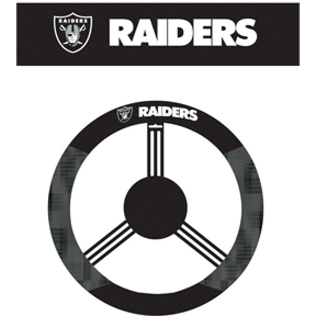 Oakland Raiders Steering Wheel Cover NFL Football Team Logo Poly Mesh