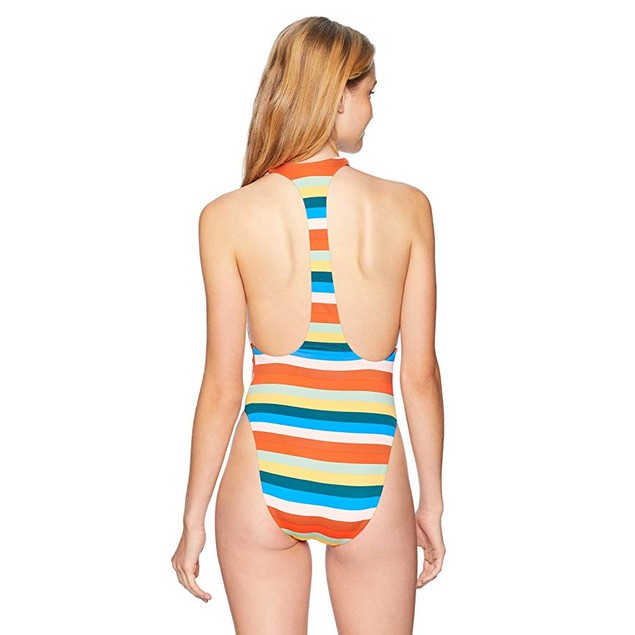 Bikini Lab Junior's V-Neck High Leg One Piece Swimsuit, Multi, Medium